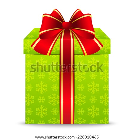 Christmas gift box with red ribbon - stock photo