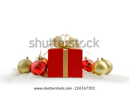 Christmas gift box with white background