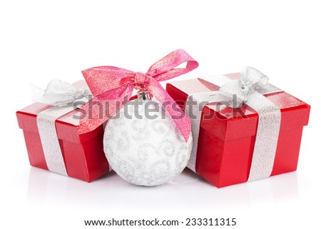 Christmas gift boxes and decor. Isolated on white background - stock photo