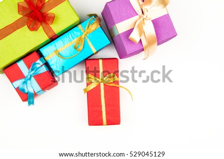 Christmas gift boxes isolated on white background. Top view with copy space
