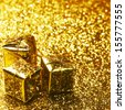 Christmas gift boxes on shiny background close-up - stock photo