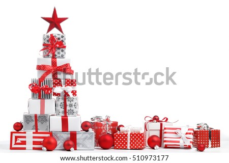 Christmas gift boxes on white background stock photo 510973177 christmas gift boxes on white background negle Image collections