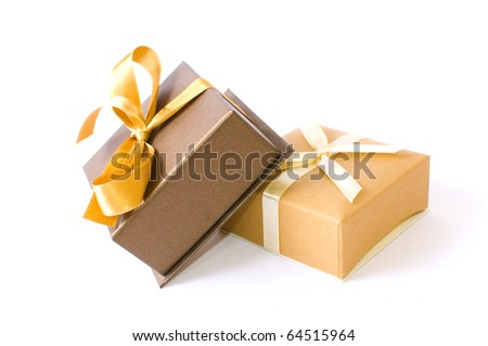 Christmas gift-boxes on white background, with  ribbons - stock photo