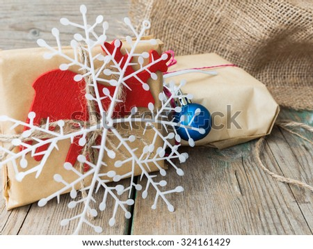 Christmas gift boxes on  wooden table background with copy space