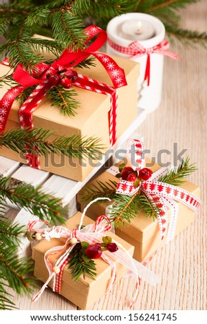 Christmas gift boxes with decoration - stock photo