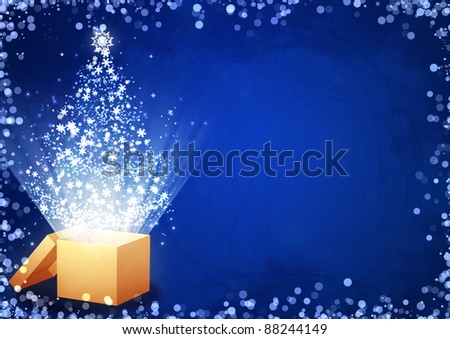 Christmas gift - horizontal background with magic box
