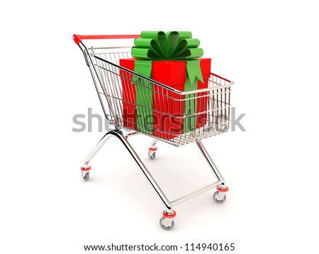 Christmas gift in a cart from the supermarket - stock photo