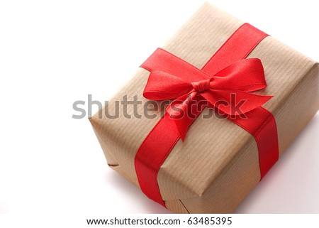 Christmas gift isolated on white background - stock photo