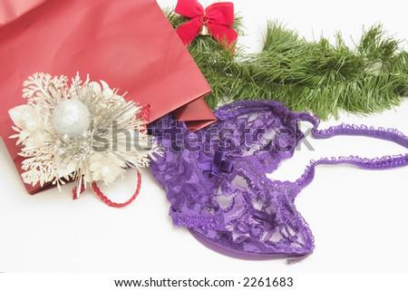 Christmas Gift of Lavender Lingerie for someone's sweetheart - stock photo