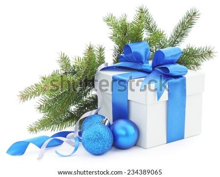 Christmas gift on white background. - stock photo