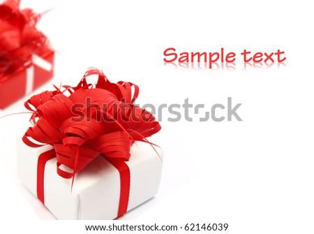 Christmas gift on white background - stock photo