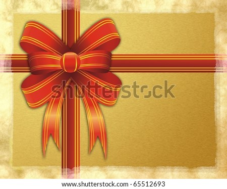 Christmas gift pack with a red ribbon