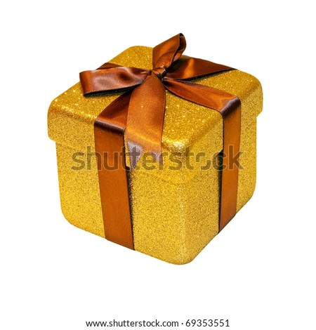 Christmas gift packed into golden box isolated with clipping path included - stock photo