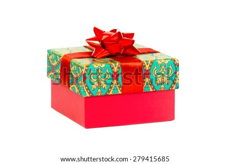 Christmas gift, present isolated, background  - stock photo