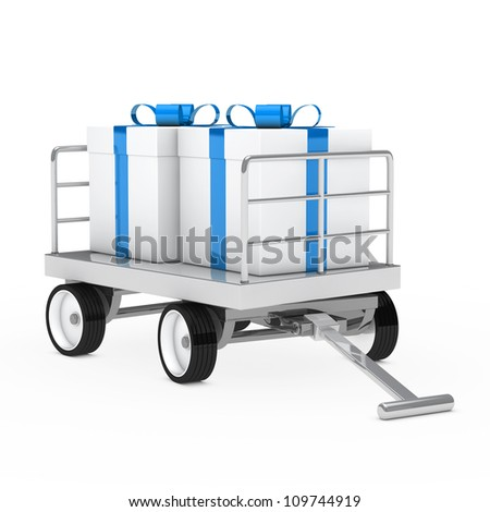christmas gift trolley with blue white gifts