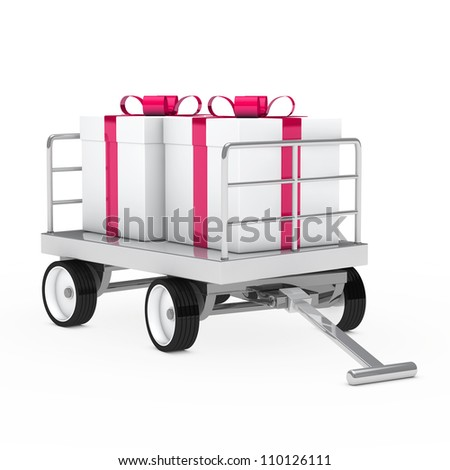 christmas gift trolley with pink white gifts