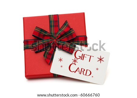 Christmas gift with a gift card isolated on white - stock photo