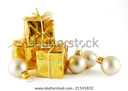 Christmas gift with balls on the white background