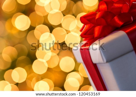 Christmas  gift with blurred lights - stock photo