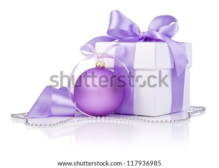 Christmas gift with Purple Ball and ribbon bow isolated on white background - stock photo