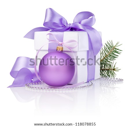 Christmas gift with Purple Ball, tree branch and ribbon bow isolated on white background - stock photo