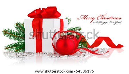 christmas gift with red balls bow and branch firtree isolated on white background - stock photo