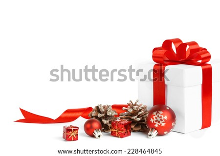 christmas gift with red balls bow isolated on white background - stock photo