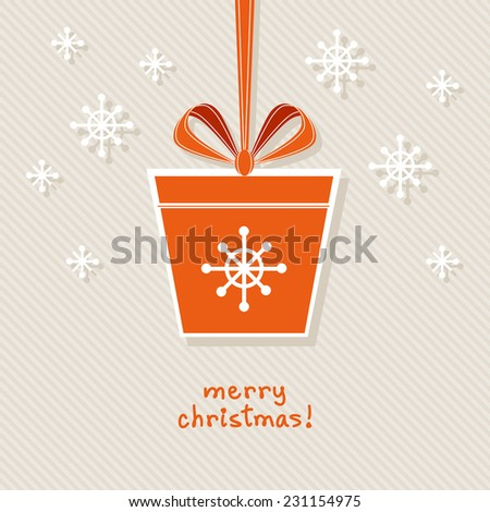 Christmas gift with ribbon and bow. Simple festive tag. Original design element. Greeting, invitation cute card. Decorative illustration for print, web - stock photo
