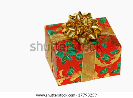 Christmas gift wrapped with ribbon and bow isolated on white - stock photo