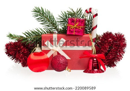 Christmas gifts and balls with fir-trees branch isolated on white background - stock photo