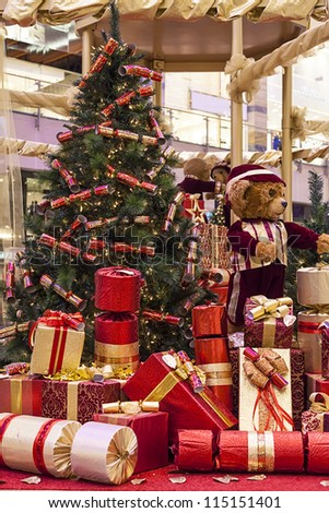 christmas gifts and decoration - stock photo