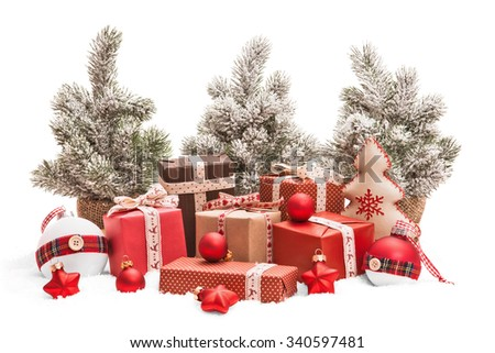 Christmas gifts and decorations isolated on white background - stock photo