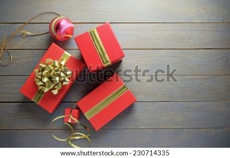 Christmas gifts and decorations with copyspace - stock photo