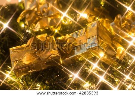 Christmas gifts and lights - stock photo
