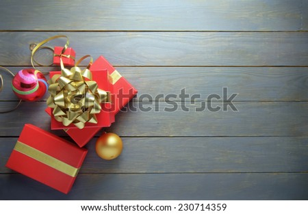 Christmas gifts background with space  - stock photo