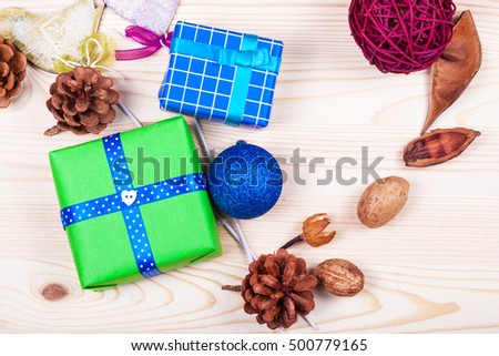 Christmas gifts box on wood desk. Christmas background