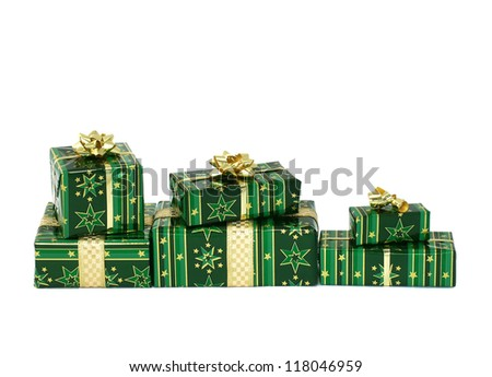 Christmas gifts boxes isolated on white background - stock photo