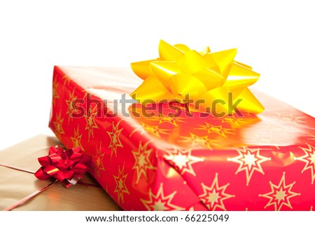 Christmas gifts boxes with ribbons isolated on white