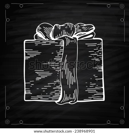 Christmas Gifts Chalkboard Style. Outline illustration gift boxes with bows and ribbons. Chalkboard drawing of Christmas Gift. Graphic Engraving Style - stock photo