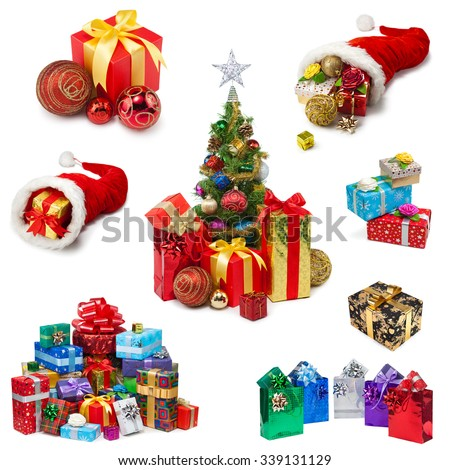 Christmas gifts collection on a white background - stock photo