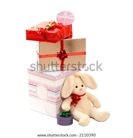 christmas gifts for baby - stock photo