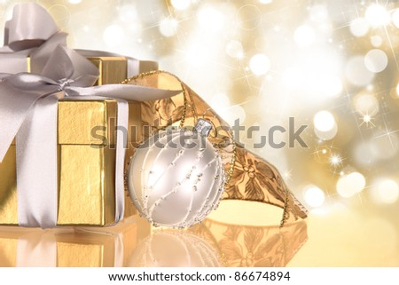 Christmas gifts in blur golden theme