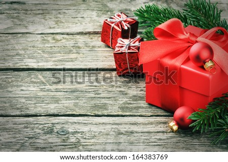Christmas gifts in festive setting  - stock photo