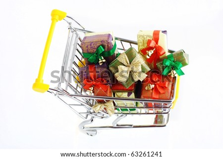 Christmas gifts in the cart