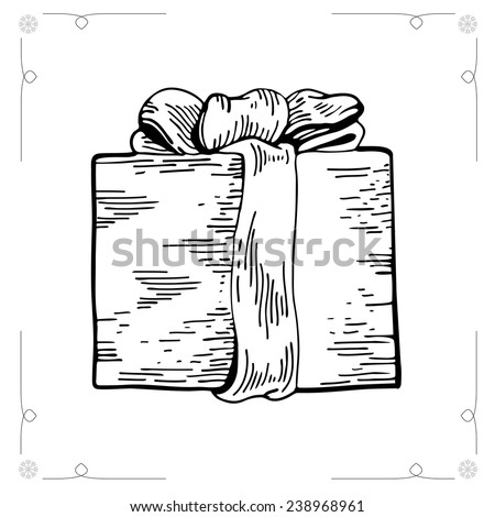 Christmas Gifts isolated on white backgroun. Outline illustration gift boxes with bows and ribbons. Gift illustration. Graphic Engraving Style - stock photo