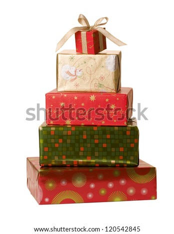 Christmas gifts isolated on white background. - stock photo