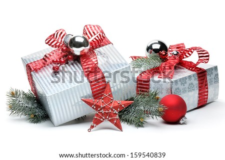 Christmas gifts on white background - stock photo
