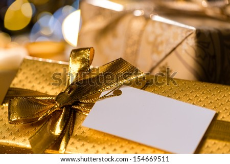 Christmas Gifts with blank tags special occasion - stock photo