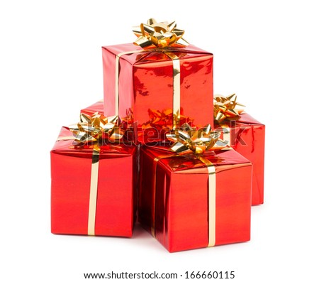 Christmas Gifts with Bows isolated on white