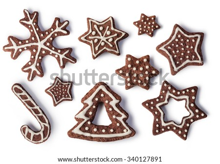 Christmas Ginger and Honey cookies on isolated white background - stock photo